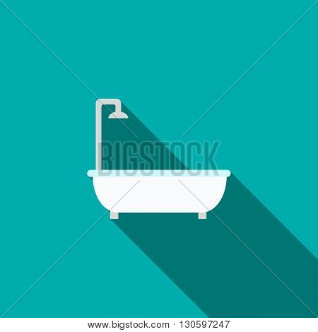 Bath with shower icon in flat style with long shadow. Bathroom and bathing symbol