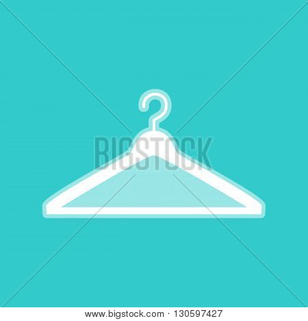Hanger sign. White icon with whitish background on torquoise flat color.