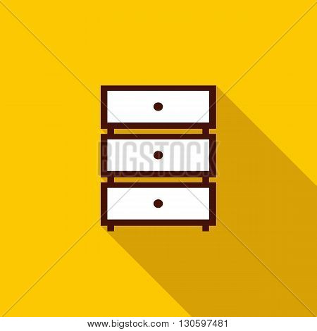 Chest of drawers icon in flat style with long shadow. Home and interior symbol