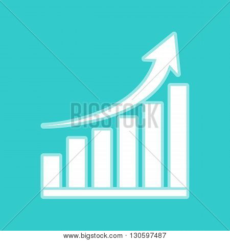 Growing graph sign. White icon with whitish background on torquoise flat color.