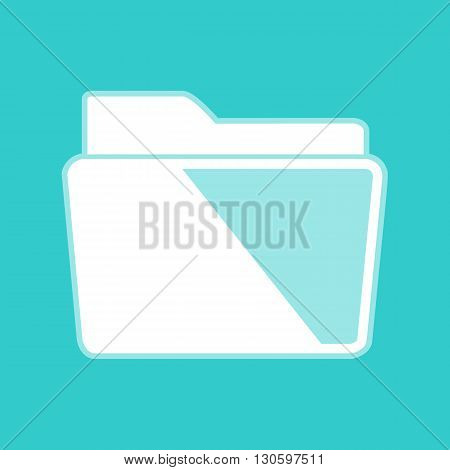 Folder sign. White icon with whitish background on torquoise flat color.