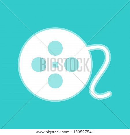 Film circular sign. White icon with whitish background on torquoise flat color.