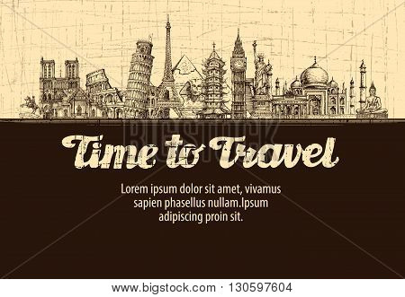 travel, journey. vector hand drawn sketches monuments of the world
