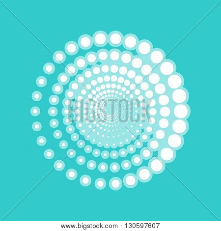 Abstract technology circles sign. White icon with whitish background on torquoise flat color.
