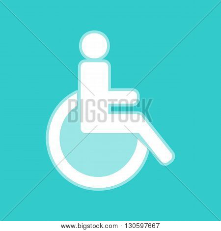 Disabled sign. White icon with whitish background on torquoise flat color.