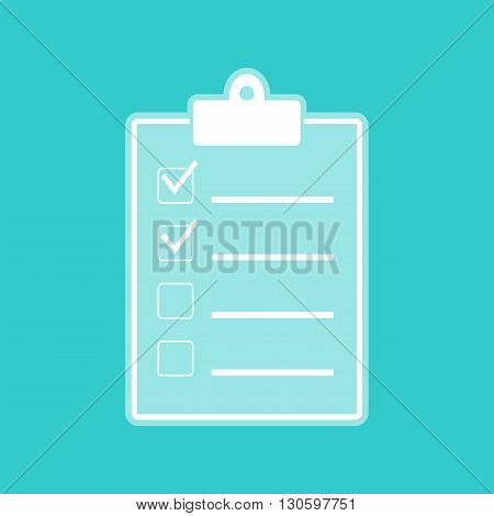 Checklist sign. White icon with whitish background on torquoise flat color.