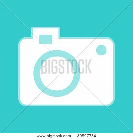 Digital camera icon. White icon with whitish background on torquoise flat color.