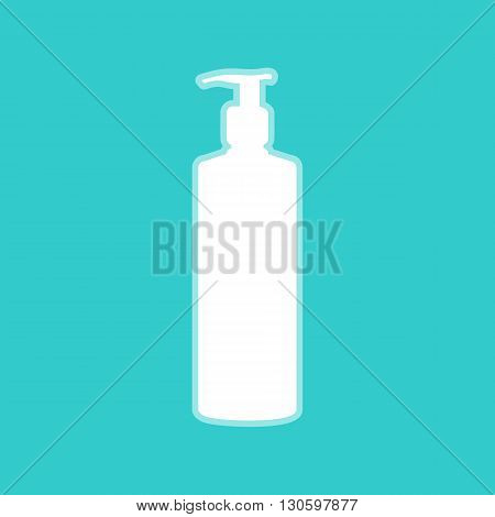 Gel, Foam Or Liquid Soap Dispenser Pump Plastic Bottle silhouette. White icon with whitish background on torquoise flat color.