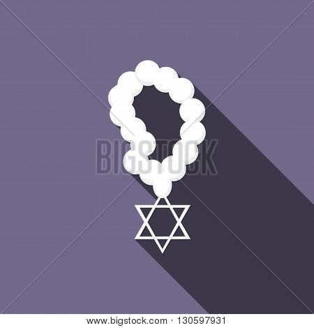 Rosary with Star of David icon in flat style on a violet background