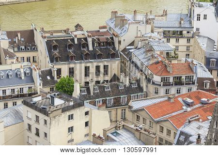 Paris, France - May 13: These are roofs of old Parisian houses situated on the island Cite May 13, 2013 in Paris, France.