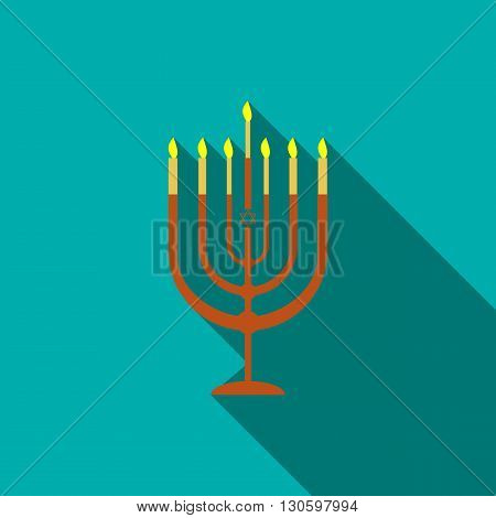 Menorah icon in flat style on a turquoise background