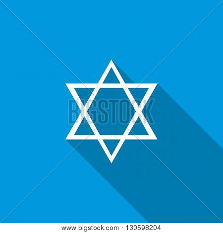 Star of David icon in flat style icon in flat style on a blue background