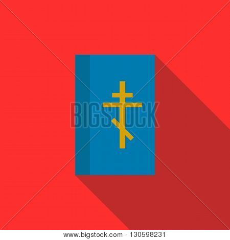 Blue bible book icon in flat style on a red background