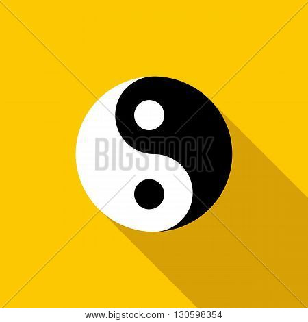 Ying yang icon in flat style on a yellow background