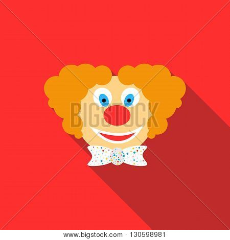 Head of clown icon in flat style on a red background