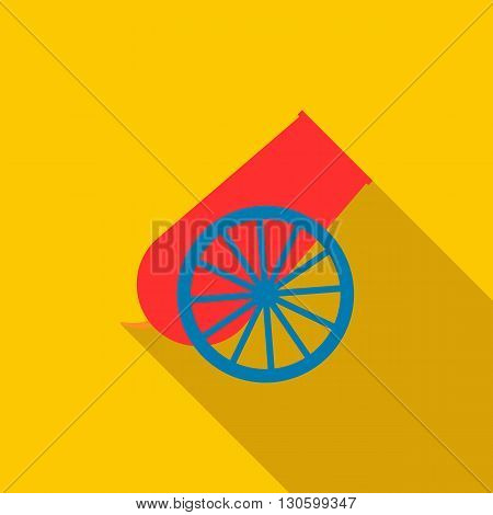 Circus cannon icon in flat style on a yellow background