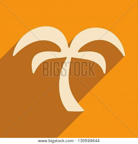 Flat with shadow icon and mobile application palm tree