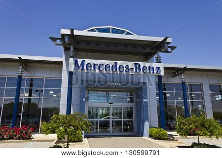 Indianapolis - Circa May 2016: Mercedes-Benz Luxury Car Dealership. Mercedes-Benz is a global automobile manufacturer and a division of the German company Daimler AG III
