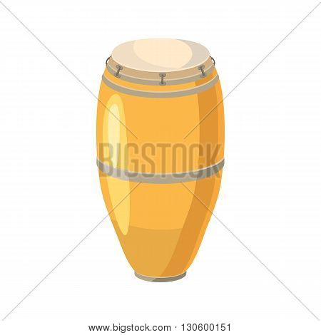 Ethnic drum icon in cartoon style on a white background