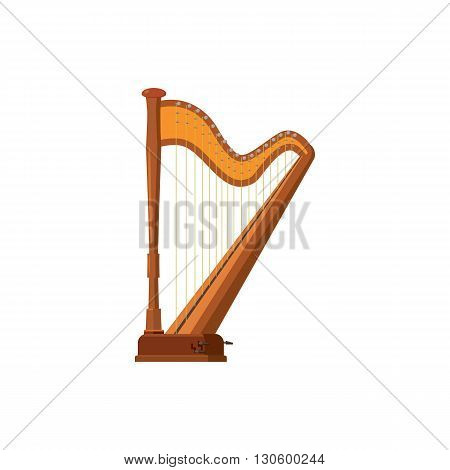 Harp icon in cartoon style on a white background