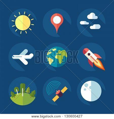 icon set - nature and communication icon set