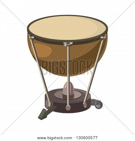 Drum icon in cartoon style on a white background