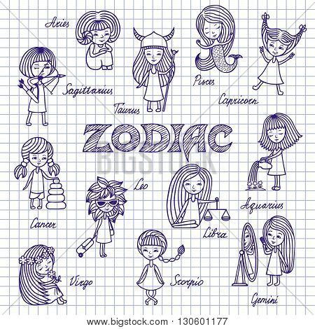Hand drawn funny Zodiac signs cartoon horoscope doodles. Set of twelve girls with the names of the constellations. Sketch pen on notebook sheet.