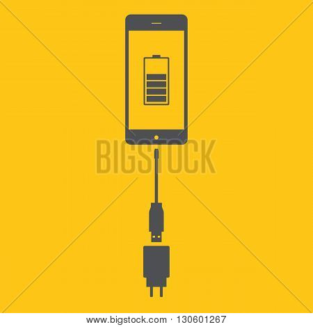 Charging mobile. Charging the phone icon. Vector illustration.