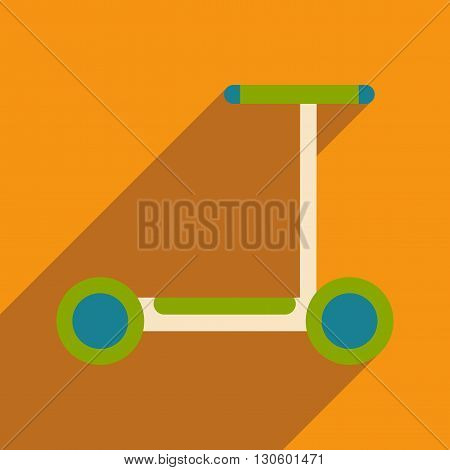 Flat with shadow icon and mobile application scooter