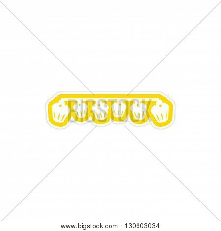 stylish paper sticker on white background garland cupcakes