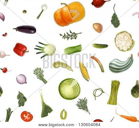 Hand-drawn vector seamless pattern of vegetables, isolated on transparent with white background