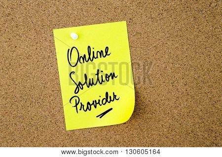 Online Solution Provider Written On Yellow Paper Note