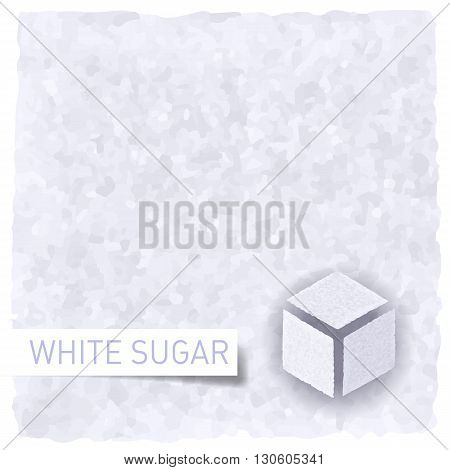 White sugar background. Textured backdrop and sugar cube