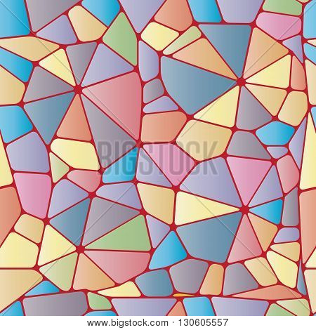 Colorful abstract seamless pattern. Geometric colorful objects like stained glass. Vector illustration.