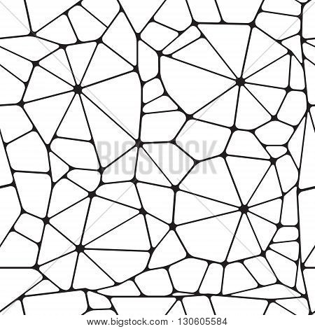 Black and white abstract seamless pattern. Geometric objects like a spiderweb. Vector illustration.