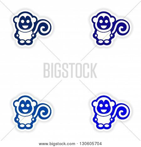 Set paper stickers on white background little monkey