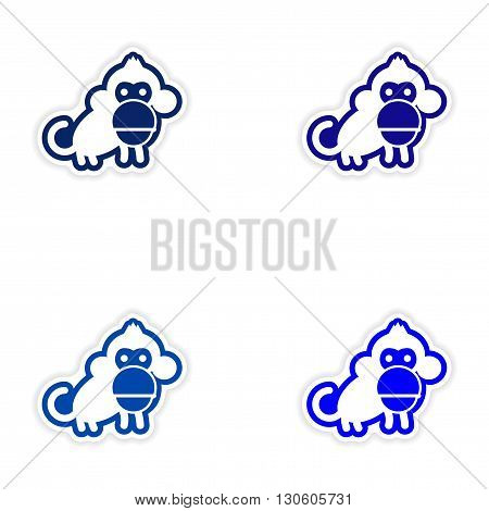 Set paper stickers on white background small chimpanzee