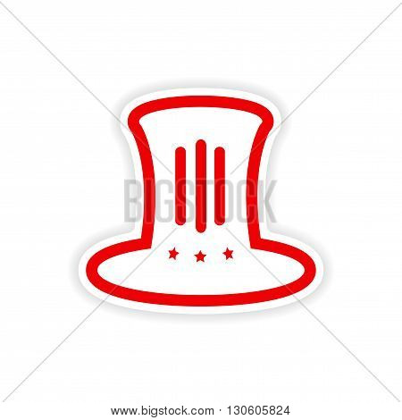 paper sticker hat Lincoln on white background