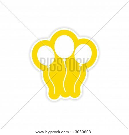 stylish paper sticker on white background balloons