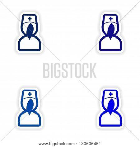 Set paper stickers on white background nurse