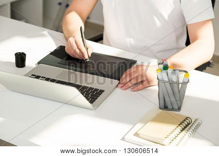 Male Using Graphic Tablet