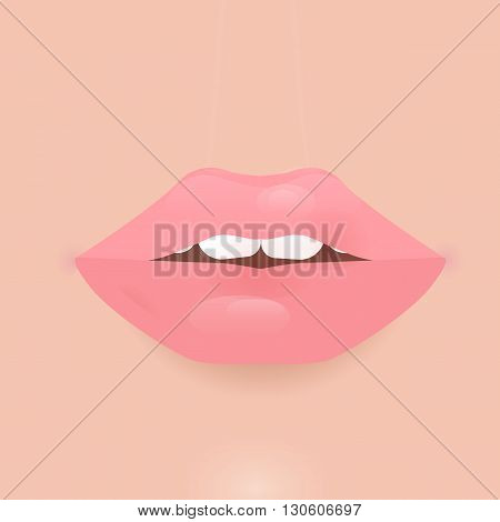 Glamour lip icon. Beautiful shiny female lip. Realistic sexy kisse. Romantic smile. Passion mouth. flat style icon