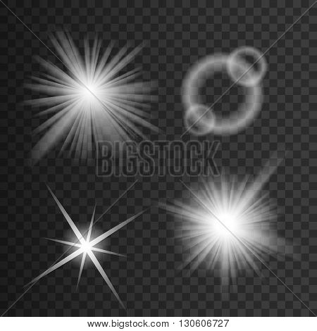 Set of white glowing light burst explosion with transparent. illustration for cool effect decoration of ray sparkle. Bright star. Transparent shine gradient glitter, bright flare. Glare texture