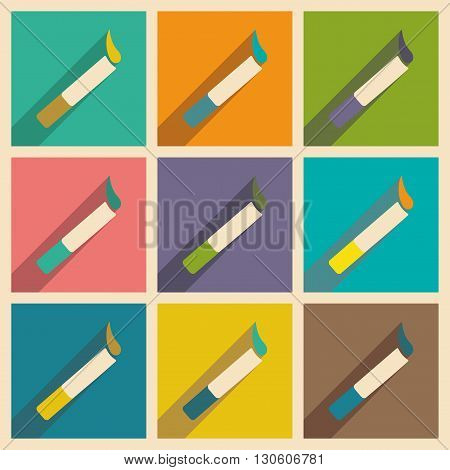 Flat with shadow concept and mobile application cigarette