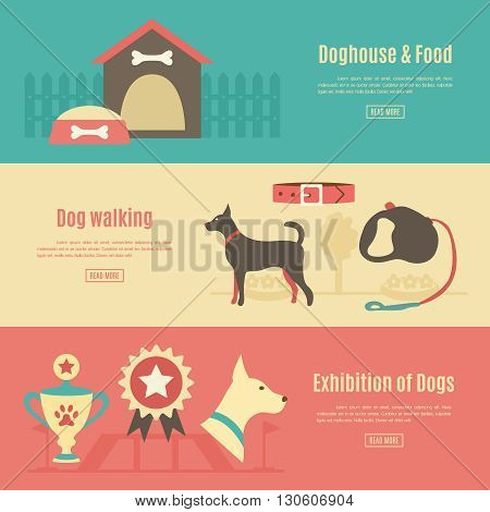 Retro pet flat horizontal banner set. illustration for animal design. Doggy silhouette. With dog, house, food, award and walking, leash, collar, exhibition.