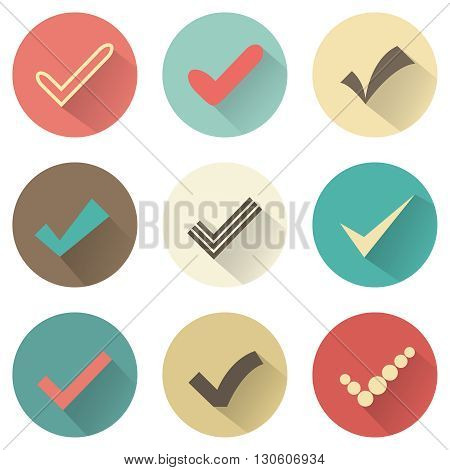 Set of different retro check marks or ticks. Confirmation acceptance positive passed voting agreement true or completion of tasks on a list. Retro colors.
