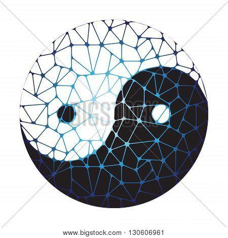 Abstract symbol of yin yang. Vector illustration.