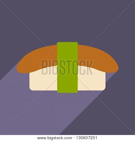 Flat with shadow icon and mobile application nigiri sushi