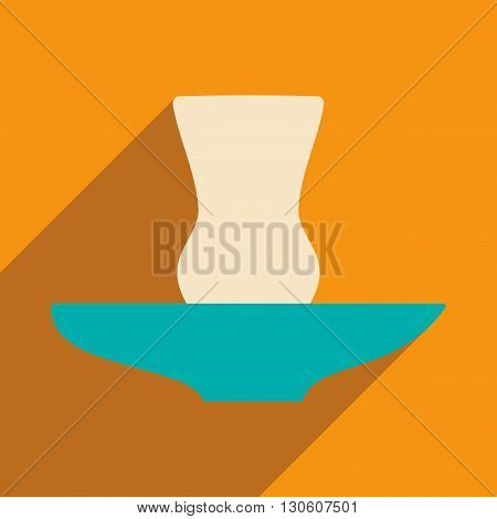 Flat with shadow icon and mobile application glass eastern