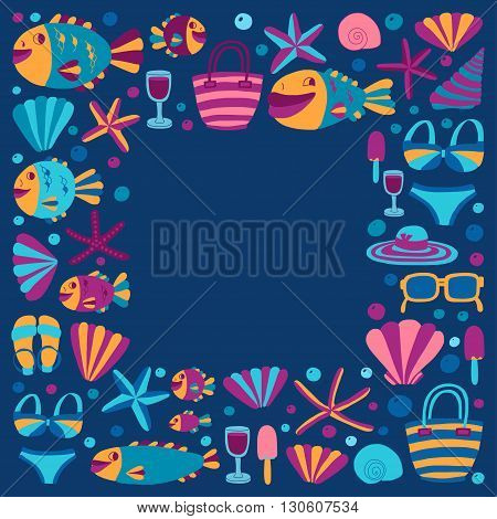 Flat hand drawn icons Beach and tropical vacation Doodle style